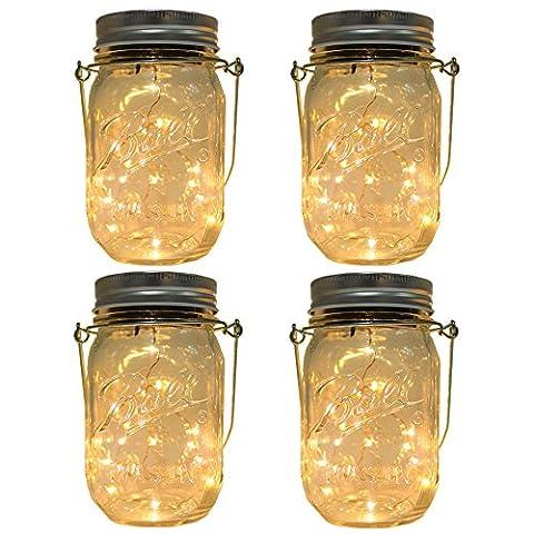 4-Pack Solar-powered Mason Jar Lights (Mason Jar & Handle Included),10