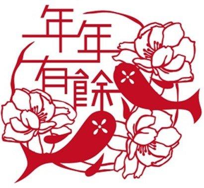 """FUN II Capodanno Cinese Surplus Fortuna Pesce Adesivo statico Riutilizzabile Decalcomanie Casa Decorazione Carta Taglio Murale per Frigo & Superfici lucide,Pulire, 9.2""""x 0.3"""""""