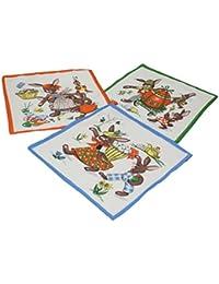 12 Stück Kinder Stoff Taschentücher Kindertaschentücher Set Größe 26x26 cm 100% Baumwolle Tier Motive Design 9 OSTERN