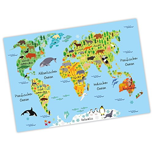 nikima - Kinder Weltkarte Blau Poster Plakat Tiere Erde Wandbild Kinderzimmer schöne Wanddeko Kontinente (A1-841 x 594 mm)
