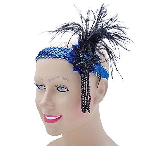 Bristol Novelty BA369Deluxe Flapper blau Pailletten, Kopfband, Damen, Schwarz/Blau, One size