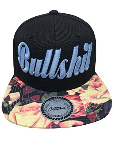 Outfitfabrik ♥ hearts; Snapback Cap Stickerei Bullshit mit Flower-Schirm & 3D Stick in blau (Provokation & Statement)