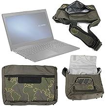 DURAGADGET Bolso Con Bandolera Verde Con Mapamundi Para ordenador portátil Asus P2520SA | P2520LA | HP 255 G4 - Con Múltiples Bolsillos