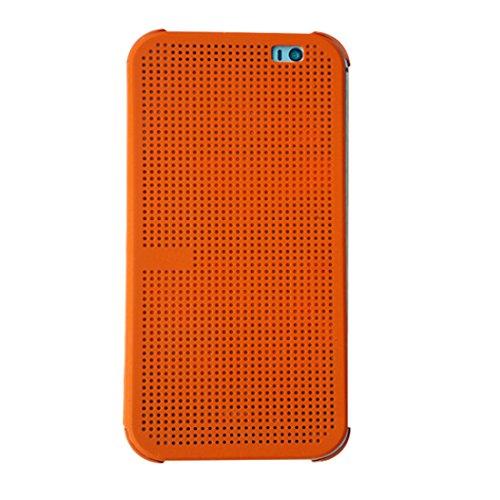 merrystore @ HC M100Fashion Dot View Case Smart Flip Folio Cover für HTC One M8, Orange, 2.9 x 0.5 x 7.1 inches (Case One Htc M8 View Dot)