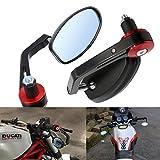 """ViZe 7/8"""" 22mm Specchietti Moto Retrovisori Specchio Posteriore Per Yamaha Honda Triumph Ducati Motivo Nero"""