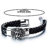 Geflochtenes Leder-Armband für Herren mit Edelstahl Löwe und Schwarz Echtes Leder Biker Armband - 3