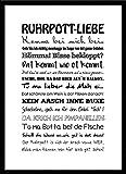 artissimo, Spruch-Bild gerahmt, 51x71cm, PE6037-ER, Ruhrpott-Liebe, Bild, Wandbild mit Spruch, Spruch-Poster mit Rahmen, Geschenk-Idee, Plakat, Kunst-Druck, Typographie, Text, Ruhrgebiet
