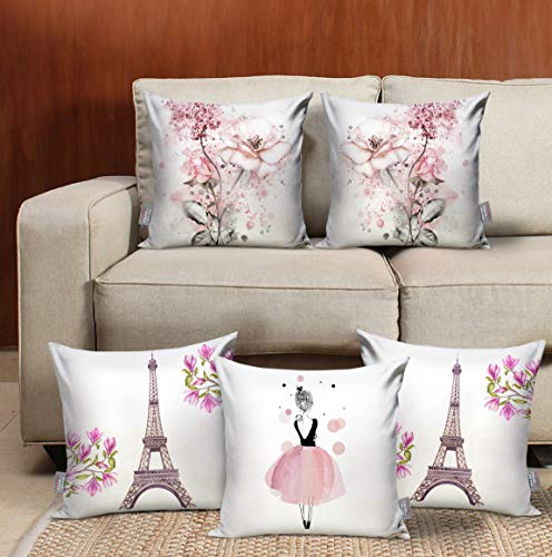 TIED RIBBONS Set of 5 Printed Jumbo Size Decorative Cushion Covers 18 Inch X 18 Inch for Wooden Sofa, Bedroom Decoration (Multicolor)