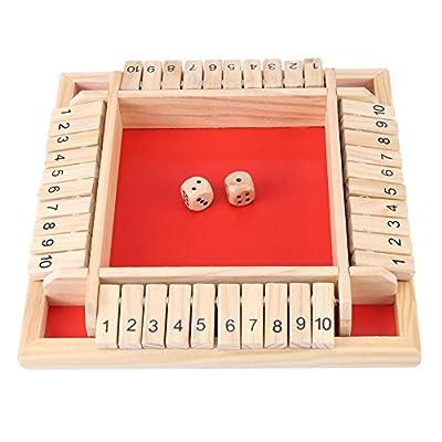 Mini Shut the Box: 4-Player Jeu de Société - Jeux à Boire - Jeux d'Ambiance avec Nombre et Dés en Bois pour KTV Soirée Fête Bar apprentissage traditionnel dés jouet puzzle