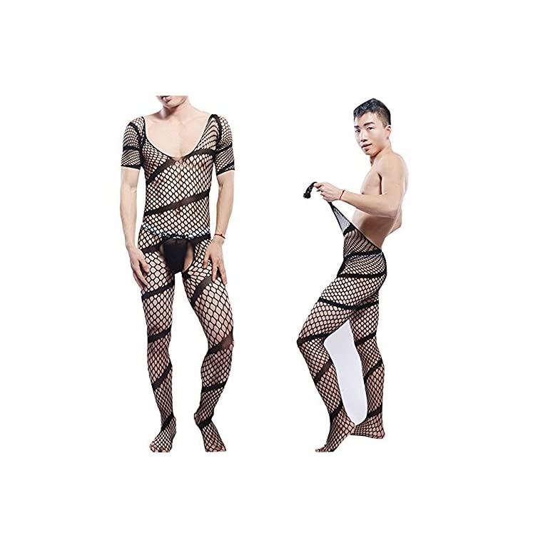 Himealavo Men Pantyhose Gay Silky Stockings Mens Pantyhose Jj Sleeves Body Suit