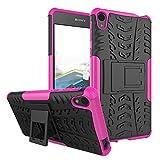 1stfeel Sony Xperia E5 Funda,Heavy Duty Silicona híbrida con Soporte Cáscara de Cubierta Protectora de Doble Capa Funda Caso + Cristal Templado para Sony Xperia E5 Smartphone,Rose