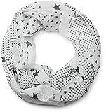 styleBREAKER Sterne Muster Loop Schlauchschal, seidig leicht, Damen 01016088, Farbe:Weiß-Schwarz (One Size)