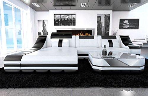 Sofa Dreams Ledersofa Turino L Form Weiss-schwarz