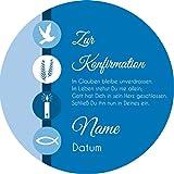 Tortenaufleger Konfirmation3 blau mit Wunschtext / 20 cm Ø