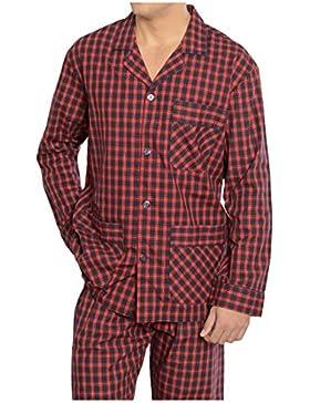El Búho Nocturno Pijama de Caballero Largo clásico a Cuadros/Ropa de Dormir para Hombre - Tela Popelín, 100% algodón...