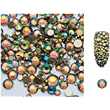 S.A.V.I 5g/Pack Ab Glass Rhinestones Stones Shiny Gems Manicure Accessories Gold Flatback Mixed Sizes For Nail Art Decoration (Forest Star), Multicolor, 2 g