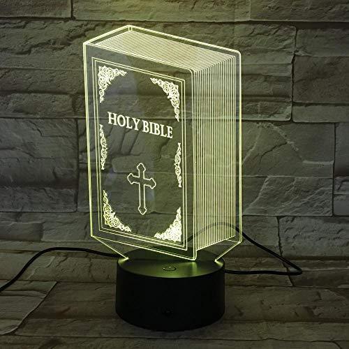 QAQ Starry sky LED Nachtlicht 3D Kinder Bibel Illusion Stimmungslicht Fernbedienung Nachttischlampe 7 Farben ändern Touch Switch Schreibtisch Lampen Geburtstagsgeschenk