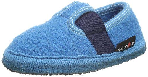 Haflinger Unisex-Kinder Joschi Flache Hausschuhe Blau (Adria 45)