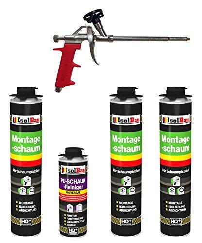 SET Pistolenschaum 3 Dosen 750 ml Montageschaum 1K Bauschaum PU-Schaum + 1 Reiniger + 1 Schaumpistole