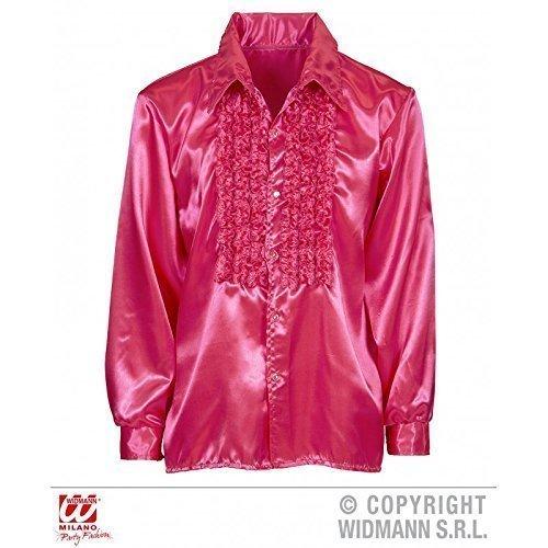 Lively Moments Rüschenhemd in Pink / Diskohemd / Herrenhemd / Satinhemd / 70er Jahre Kostüm Gr. XL