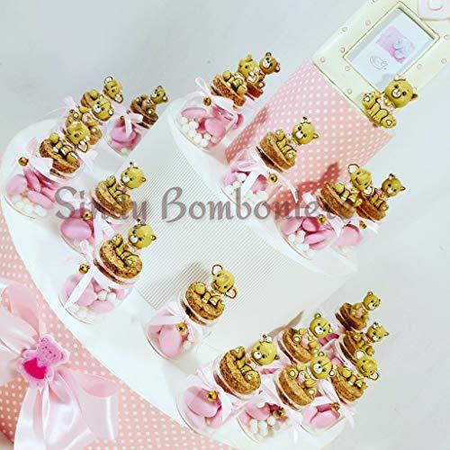 Bomboniera torta struttura con vasetti per nascita battesimo primo compleanno bimbo orsetto assortito albero della vita 049513 (torta da 30 bomboniere + centrale)