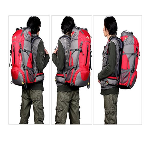 50L Bergsteigen Rucksack mit Regen Abdeckung Nylon leichte tragbare Tasche für Camping Wandern unterwegs Reiten H60 x L30 x T20 cm Red
