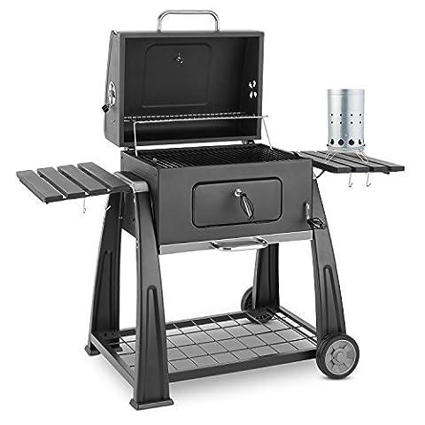 Klarstein Bigfoot Set Barbecue à charbon de bois BBQ Fumoir (grande surface de barbecue de 55 x 40 cm, allume-feu électrique avec une puissance de 350 W)