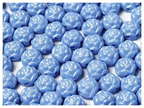 30 Stück Rosetta® Cabochons® - Tschechische gepresste Glasperlen in Form einer runden Rose 6 mm mit zwei Löchern, Alabaster Powder Blue -