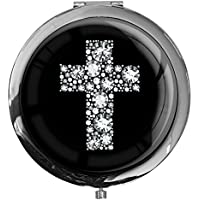 """metALUm - Extragroße Pillendose in runder Form""""Kreuz in Silber"""" preisvergleich bei billige-tabletten.eu"""