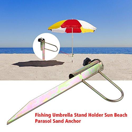 Zunate Sonnenschirmhalter,Metall Sonnenschirmständer Sonnenschirm Dorn Strand 42cm,Einstellbar...