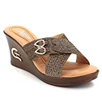AARZ LONDON Womens Ladies Cross-Strap Summer Open Toe Casual Comfort Medium Wedge Heel Slip-On Brown Sandals Shoes Size UK 6 EU 39