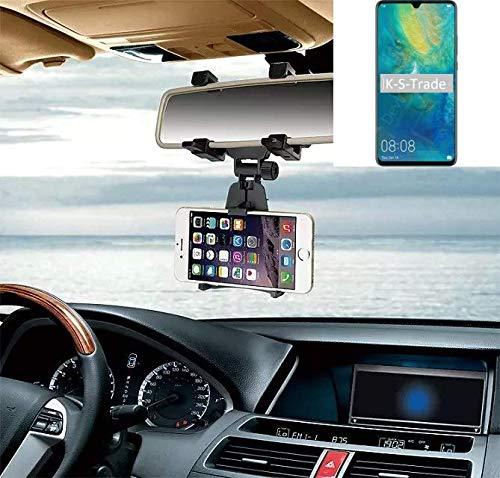 k-s-trade® per huawei mate 20 x 5g supporto smartphone specchietto retrovisore titolare monte auto universal porta telefono staffa culla cruscotto montaggio holder nero