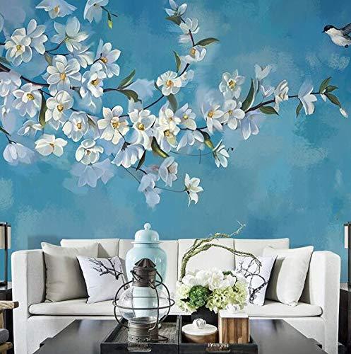 Moderne Wohnzimmer Sofa Hintergrund Wand Tapete handgemalte blaue Tapete Portraits Blumen- und Vogelölgemälde, 400 × 200 cm