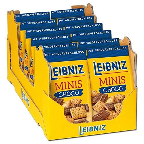 Leibniz Minis Choco im 12er Pack- Mini-Butterkekse mit Schokolade - Schoko-Kekse in der Großpackung - Keks-Box mit Butter-Gebäck in 12 Kekstüten - Vorrats-Box (12 x 125 g)