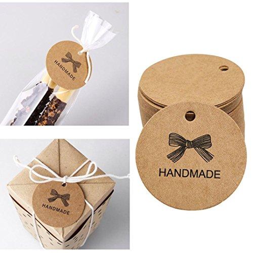 Mitlfuny 100 StüCk HANDMADE Kraft PapieranhäNger AnhäNgeetiketten GeschenkäNhanger Hochzeit Etiketten