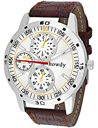 Howdy Smart Analog White Dial Watch With Leather Strap - For Men's & Boys Ss510