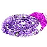 Edelstein Mala Perlen Halskette, mala Armband, buddhistische gebetsperlen, verknotete perlenkette, Amethyst Mala Perlen