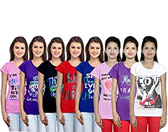 Indistar Women's Cotton Printed T-Shirts (Pack of 8)