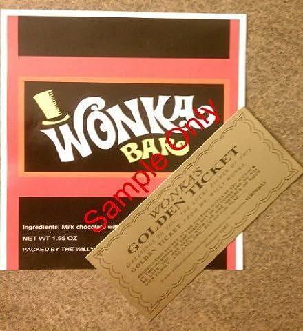 1.55oz / 43 g Willy-Wonka-Umschlag / -Verpackung und goldenes Ticket, keine Schokolade enthalten