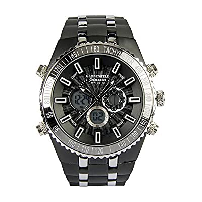 Globenfeld Jetmaster Men's Sports Watch - Rugged, Durable Design for the Modern Man with Jet Black Metal Case, Rubber Wrist Band, and 5 Year Manufacturer's Warranty