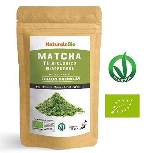 Matcha Tee Pulver Bio [ Premium-Qualität ] 100g | Original Green Tea aus Japan | Japanischer Matcha Ideal zum Trinken | Grüntee-Pulver für Matcha Latte, Matcha Smoothies, Matcha-Getränk | Tee hergestellt in Japan Uji, Kyoto | NATURALEBIO