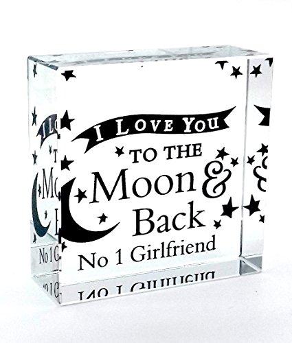 Chris Bag of Goodies No 1Freundin I Love You to The Moon and Back Crystal Ornament Medium Neuheit Andenken Geschenkidee Geburtstag Valentinstag Weihnachten Jahrestag Geschenke Geschenke für My