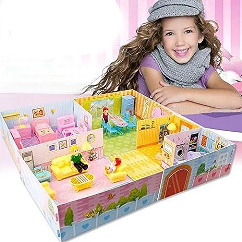 Togather® Kids Mini fai da te Dolls House rosa Felice Camera a tema con mobili e letto Kit per i bambini regalo di compleanno di Natale