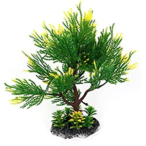 Sourcingmap Künstliche Aquatic Aquarium Baum Pflanze Ornament, 20,3cm, grün/gelb