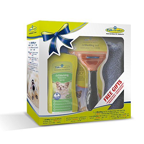 Geschenkeset bestehend aus 1 Stck.Furminator Hund M kurzhaar /1 Stck. Waterless Spray / 1 Stck. Handtuch