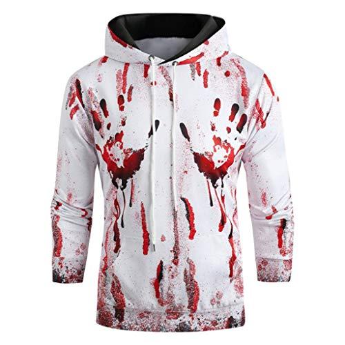 DNOQNLongsleeve Herren V Ausschnitt Poloshirt Baumwolle Blutdruck Halloween WoCouples Langarm Hoodie Sweatshirt Pullover L