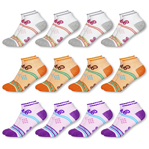 Mctam Mädchen Socken Sneaker Damen 12er Pack 90% Baumwolle Mix Motiv, 35-38, 12x Mädchen Sneaker