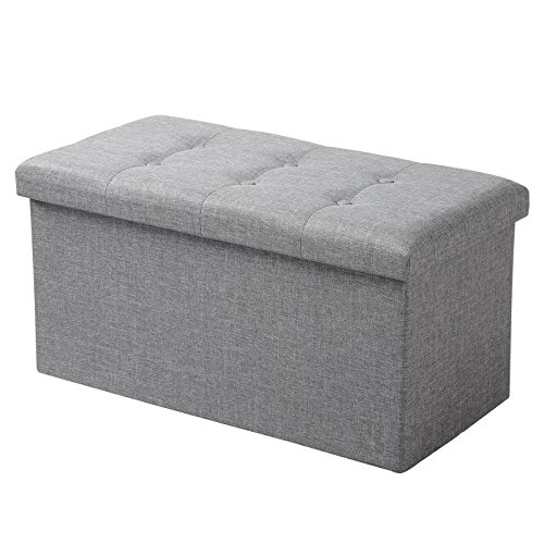 Woltu sh10hgr-1 pouf contenitore panche sgabello pieghevole poltrona poggiapiedi cassapanca scarpiera con coperchio rimovibile lino oxford 76x37,5x38cm grigio chiaro