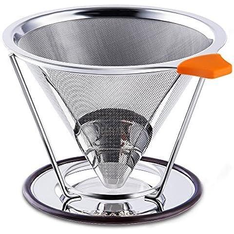 E-PRANCE Filtro de Café - Cono café Goteo Sin Papeles, Permanente 18/8 (304) de Acero Inoxidable de Malla doble Verter sobre Cafetera con el Soporte para 1-4 Tazas
