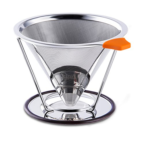 E-PRANCE Pour Over Coffee Filter, Cone Coffee Dripper Paperless, Permanent 18/8 (304) Stainless Steel double mesh Pour Over Coffee Maker with Stand for 1-4 cups